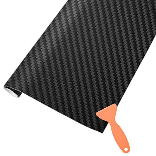 AOBETAK Carbon Autofolie Matt Schwarz mit Kunststoffschabern, 1500 x 300 mm Selbstklebend 3D Car Wrapping Blasenfrei Vinyl Folie, Carbonfolie Lackschutzfolien für Auto Motorrad DIY