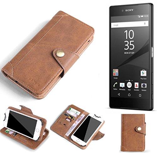 PRODUCTO DE CALIDAD para Sony Xperia Z5 Premium Funda de protección cartera Carcasa de móvil Monedero Estilo de libro tapa hecha de cuero sintético de alta calidad billetera case flip cover Marrón para Sony Xperia Z5 Premium - K-S-Trade®