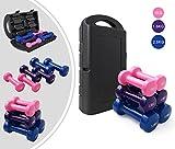 Leogreen - Damengewichte, Beschichtete Hanteln, Glanz, Rosa/Lila/Blau, mit schwarzem Koffer, 10 kg, Hantelmaterial: Gusseisen