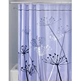 InterDesign Thistle Duschvorhang   180,0 cm x 200,0 cm großer Badewannenvorhang   waschbarer Duschvorhang aus weichem Stoff   mit Blumen-Motiv   Polyester violett/grau