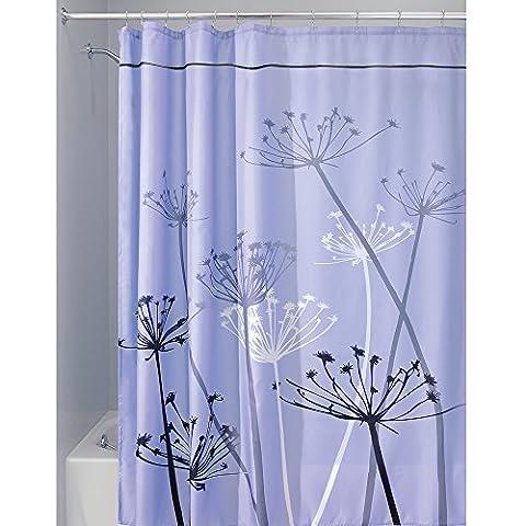InterDesign Thistle Duschvorhang | 180,0 cm x 200,0 cm großer Badewannenvorhang | waschbarer Duschvorhang aus weichem Stoff | mit Blumen-Motiv | Polyester