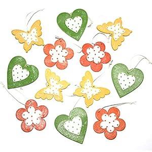 LB H&F 12er Set Dekohänger Blume Herz Schmetterling Holz Deko zum Aufhängen – IT