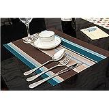 Set de table Plastifi¨¦ Stripe Bleu PVC Placemats Dining Table Sets Clest F&H R¨¦sistant ¨¤ la Chaleur (Set of 2 pcs)