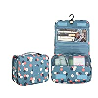 LOAVER Compact Toiletry Bag Hanging Makeup Bag Waterproof Cosmetic Organizer for Women Girls, Blue Daisy