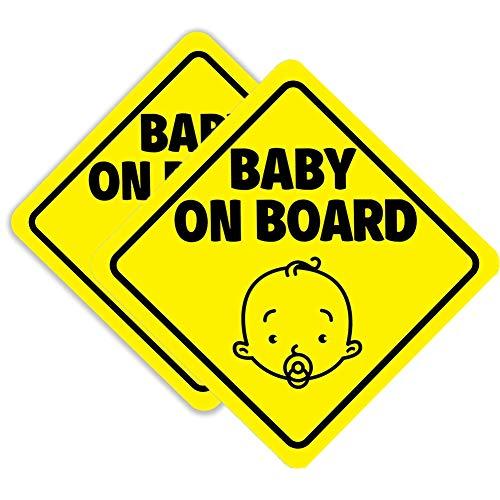 Bebé a Bordo Signo Imán para el Coche, Pegatinas de Advertencia de Seguridad de Coche Reflexivo Magnético, Señal de Advertencia Etiqueta Calcomanía para Vehículos 2 PCS