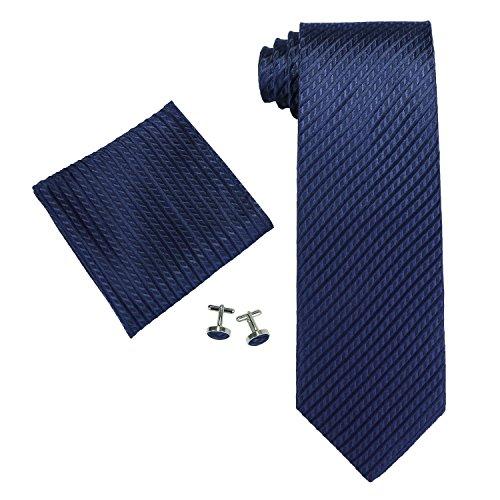 Landisun Herren Krawatten Set Solid,, Gr. Medium,Blau (Navy Blue)