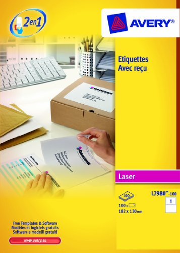 AVERY - L7980-100 - 100 étiquettes Colissimo® Chronopost® . 182x130mm.