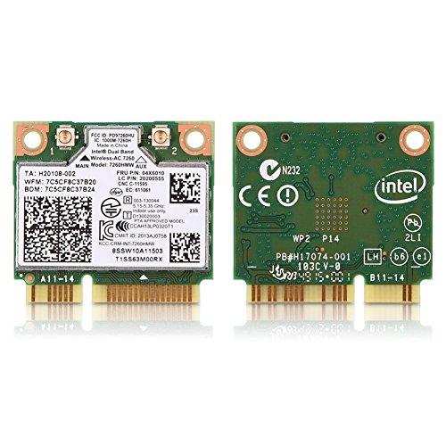 Zunate Mini-PCI-Karten,Netzwerkkarte Intel Dual Band Wireless WiFi Dual Band Wireless-AC 7260-PCIe WLAN / 802.11AC, Bluetooth 4.0,für Lenovo IBM Thinkpad Laptop - Laptop Wireless-karte