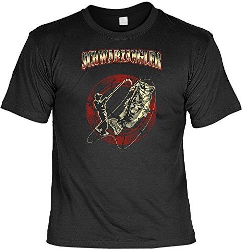 cooles Fun T-Shirt für Herren in der Farbe schwarz mit Mini T-Shirt, Schwarz Angler, ideales witziges Geschenk Schwarz