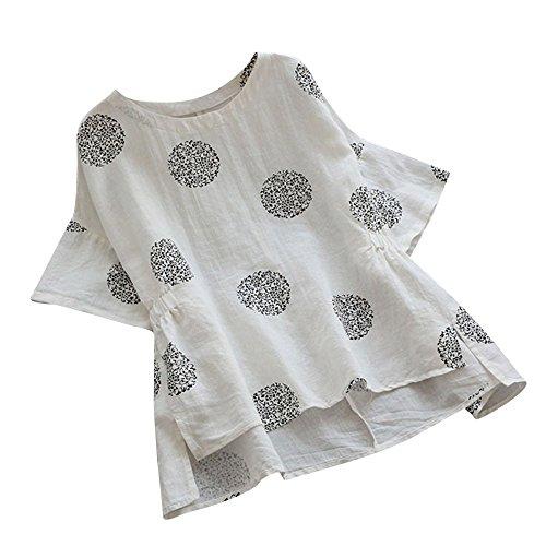 ESAILQ Frau Plus Size Dot Print Baumwolle Kurzarmhemd Vintage Bluse(XXXL,Weiß)