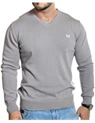 Fred Perry - Pull col V gris souris en coton fin