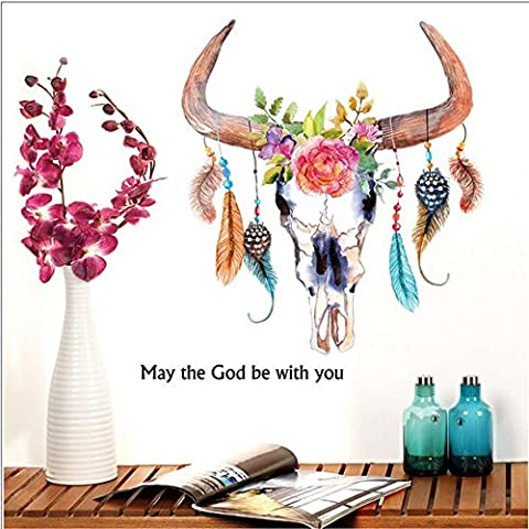 Animal Cow Ox Head Feather Removable Mural Vinyl Decal Wall Stickers Room Décor