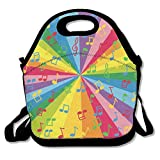 CrownLiny Colorful Music Notes Lunch Tote Bag Bags Awesome Lunch Handbag Lunchbox Box for School Work Outdoor
