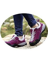 outdoor Zapatos Al Aire Libre De Otoño E Invierno, Zapatos para Caminar Femeninos, Zapatos Antideslizantes De Cuero Resistentes Al Desgaste Y Transpirables,Rosa roja,39