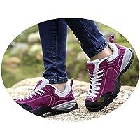QLX Zapatos para Parejas, Zapatos para el Otoño Y el Invierno, Zapatos para Caminar para Mujeres, Zapatos Antideslizantes de Cuero Resistentes Al Desgaste Y Transpirables,Rosa roja,40