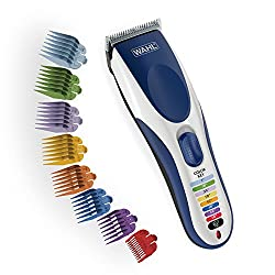 Wahl Clipper Color Pro Cordless Rechargeable Hair Clippers, Hair trimmers, 21 pieces Hair Cutting Kit, Color Coded guide combs For Men, Kids and Babies By The Brand used by Professionals. 9649