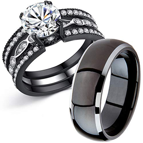 Moneekar Jewels Couple Rings Black Men's Stainless Matching Band Women CZ Engagement Sets Couple Rings