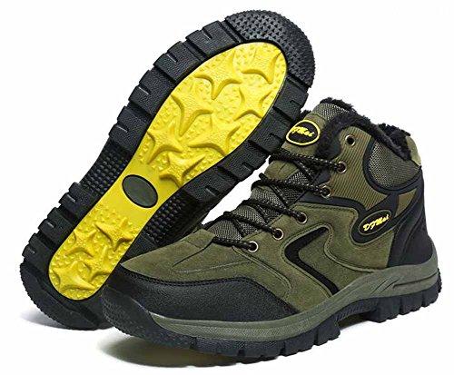 Hommes Escalade Chaussures Automne Hiver Nouvelle Polaire Doublé Chaud Unisexe En Plein Air Taille Haute Marche Chaussures Taille 36-48 Vert