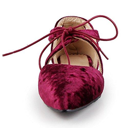 COOLCEPT Damen Mode Schnurung Sandalen Flach Niedrig Absatz Geschlossene Cut Out Schuhe Gr Rot