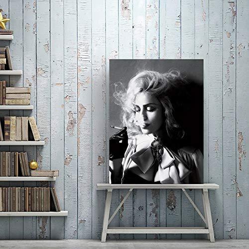 tzxdbh Moderne Schwarz-Weiß-Poster Wandkunst Leinwand Malerei Schöne Frauen Rauchen Zigaretten Fotos für Wohnzimmer Decor-in von G 40x50 cm Kein Rahmen WW01