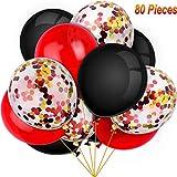80 Pièces Enesmble de Ballons d'Halloween Ballons Confettis Ballons en Latex pour Anniversaire Baby Shower Mariage L'Obtention du Diplôme 4 Juillet Décorations, 12 Pouces (Rouge, Noir)