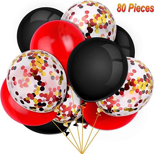 80 Stücke Halloween Luftballons Set Konfetti Luftballons Latex Luftballons für Geburtstag Baby Duschen Hochzeit Abschluss 4. Juli Dekorationen, 12 Zoll (Rot, Schwarz)