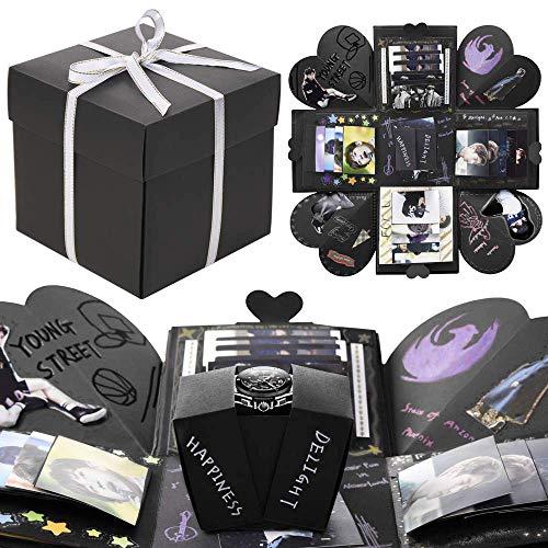 VEESUN Explosionsbox, Kreative Überraschungbox Handgemachtes Fotoalbum zum Selbstgestalten, DIY Jahrestag Geburtstags Geschenkbox Personalisierte Geschenk für Freund Männer ihn, Schwarz