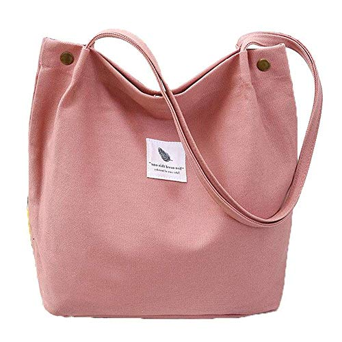 Yidarton Canvas Tasche Damen Canvas Umhängetasche Shopper Casual Handtasche groß Chic Schulrucksack für Alltag Büro Schulausflug Einkauf, 38 x 32 x 11cm Rosa