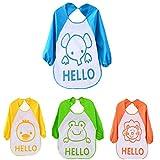 HBF 4 stk Babylätzchen Weiches Bib Wasserdicht Lätzchen mit Ärmel verschiedenen Mustern aus Polyester passen Neugeborenes Wasserdichtes Baby Lätzchen für 0-3 Jahre