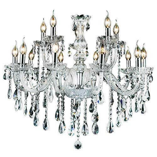 10+5-flammig Transparent Kristall Hängeleuchte Klassisch Kronleuchter Pendelleuchte Deckenleuchte antik Kristall Lüster E14