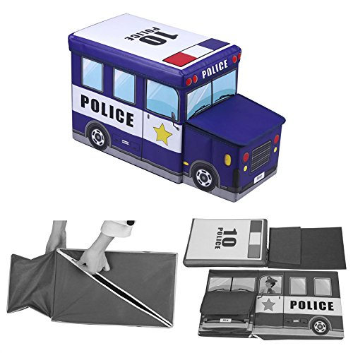 Sitzhocker Spielzeugtruhe POLIZEI in blau faltbar mit abnehmbaren Deckel und Strauraum -