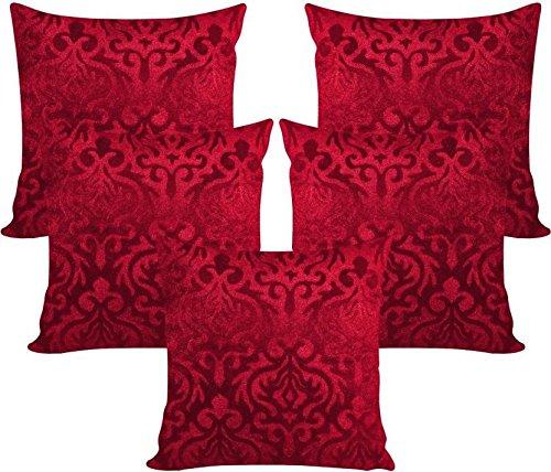 Czar Home Set of 5 Maroon Velvet Cushion Covers 16x16 inch