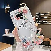 Robinsoni Funda Compatible con Samsung Galaxy Note 9 Funda TPU Silicona con Pulsera Flexible Funda 3D Flor Funda Transparente Flores Caso Ultrafina Brillo Bumper Carcasa Resistente Brazalete Funda