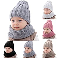 Haokaini Baby Winter Warmer Hat Neckerchief Knitted Pure Color Cap Set for Boys Girls