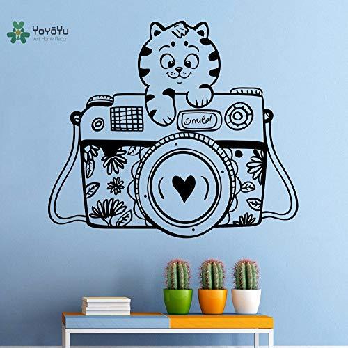 woyaofal Vinyle Sticker Mignon Tigre Caméra de Bande Dessinée Animal Drôle Enfants Chambre Amovible Décoration de La Maison Autocollants F 57X69CM