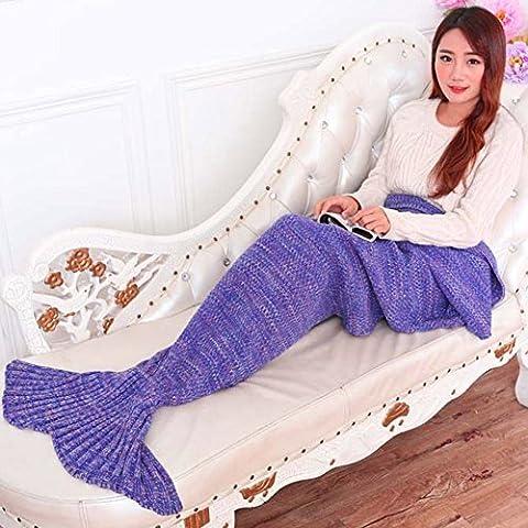 livehitop queue de sirène couverture en tricot fait main, en laine souple Sac de couchage Couvertures Fish Tail adultes toutes les saisons, 195x 95cm