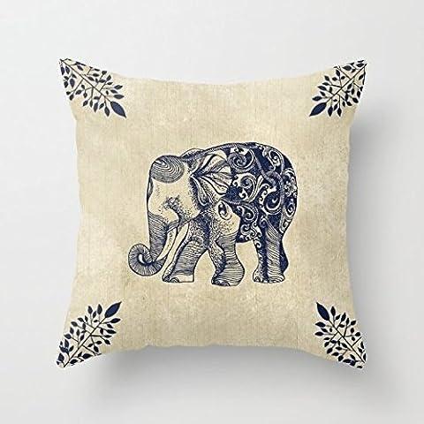 Couvre-lit simple éléphant Taie d'oreiller Housse de coussin 66x 66cm
