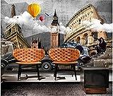 Papel pintado autoadhesivo pegatinas personalizadas mural pared mueble tv Retro Vintage Cemento Pared Mundo Arquitectura 3D Fondo Pared