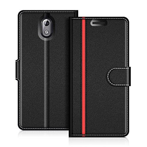 COODIO Nokia 3.1 2018 Hülle Leder, Nokia 3.1 Lederhülle Ledertasche Wallet Handyhülle Tasche Schutzhülle Magnetverschluss für Nokia 3.1 - Version 2018, Schwarz/Rot