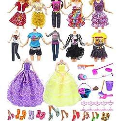 """Hey~Yo Vêtements de Poupée pour Barbie, 11"""" Accessoires de Poupée 41 Pièces-Inclus 2 Robe de Soirée Nuptiale + 10 Tenues Décontractées +10 Cintre + 10 Chaussures+9 Nettoyage Cadeau de Noël"""