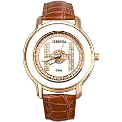 Watch - GERRYDA Women Luxury Business Leisure Analog Diamond Watch Quartz Watch color:Coffee