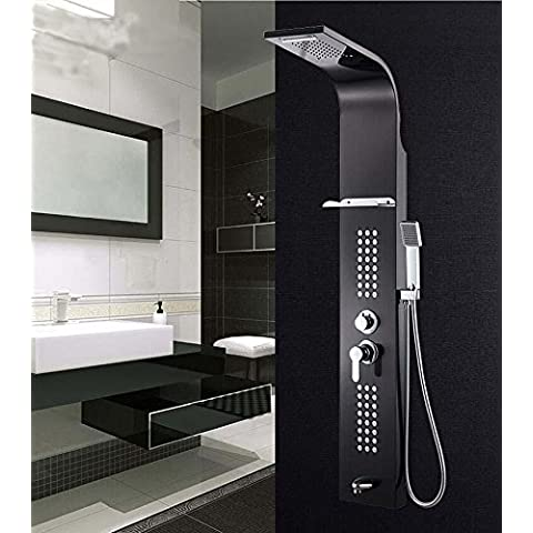 Kiss★ acero inoxidable 304 ducha panel ducha controlados cinco set , black titanium gold
