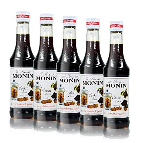 5x Monin Cookie Choco Sirup, 250 ml Flasche - für Cocktails, zum Kaffee oder Kochen