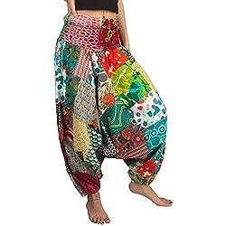Tribe Azure Fair Trade Pantalones Hippie Yoga para Mujer Pequeña Rojo Blanco Rosa Azul Verde