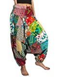 Tribe Azure 100% Baumwolle Haremshose bunt Sommer Hippie Yoga Boho Leger Fashion Damen (Medium)