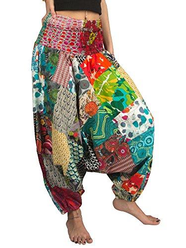 Tribe Azure 100% Algodón Pantalones Harem Colorido para Verano Hippy Yoga Boho Casual A La Moda para Mujer (Grande)