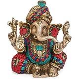 "[Sponsored]Artvarko Brass Color Ganesha Safa Pagdi Statue Brass  Ganesha   Ganapathi   Vigneshwara   Ganpati Color Stone Idol Figurine Hindu Ganesha God Lord Elephant Sculpture Height 9"""