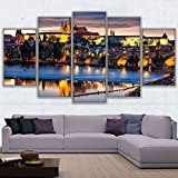 GUUTOP Wall Art Pictures For Living Room Home Decor HD Prints Canvas 5 Pieces Prague Bridge Painting City Night Scene Poster FrameworkNo Frame