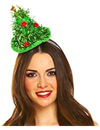 Mini Christmas Tree Green Tinsel Hat Headband