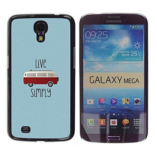 WonderWall Tapete Bunt Bild Handy Hart Schutz hülle Case Cover Schale Etui für Samsung Galaxy Mega 6.3 I9200 SGH-i527 - leben sie einfach Hippie-Bus 70Â's Unkraut 420